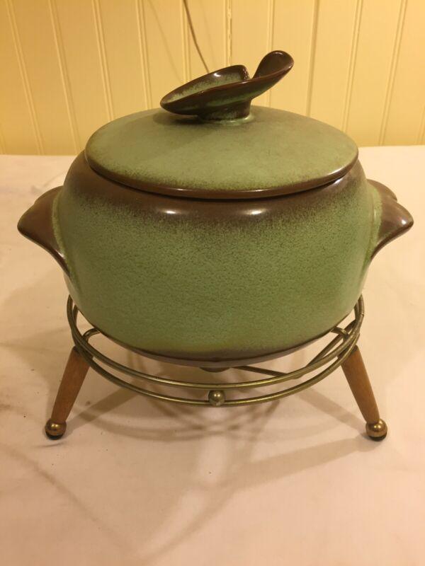 Rare Vintage Prairie Green Frankoma 3 Piece Bean Pot Metal Stand With Legs