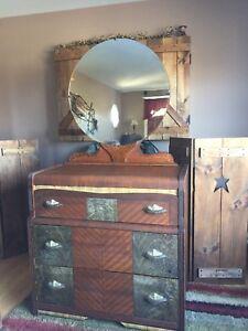 3 piece mirror antique bedroom set