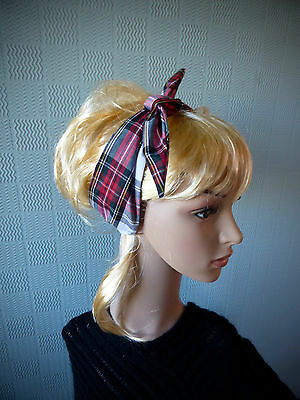 Retro tartan hair scarf, forties/fifties headband, red plaid bandana, 1940's - Fifties Hair