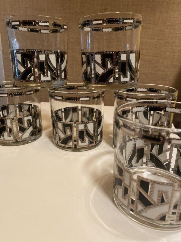 Culver Ltd Rare Silver White Black Abstract Rocks Tumbler Glasses Set 8 Mod Bar