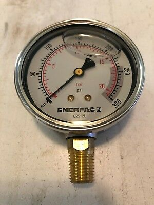 Enerpac 0-300 Psi Liquid-filled Hydraulic Pressure Gauge 2-12 Dial 0-20 Bar