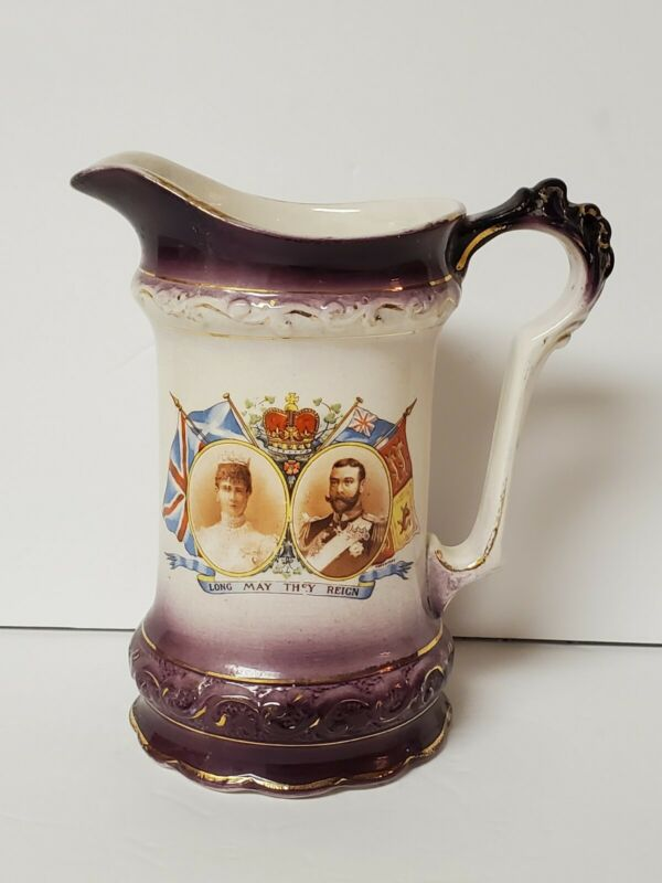 Antique King George & Queen Mary Water Pitcher Purple Gold And White
