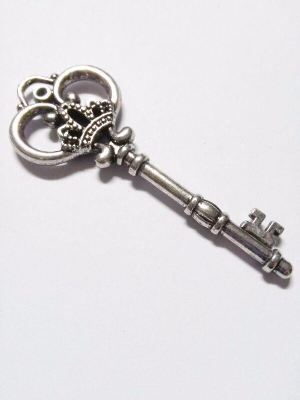 Large Key Pendant Skeleton Key Pendant Antiqued Silver Ornate Thick Skeleton Key