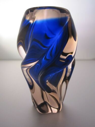 "Mid-Century ""Twist"" Vase by Josef Hospodka for Chribska in Blue/Peach VGC R.529"