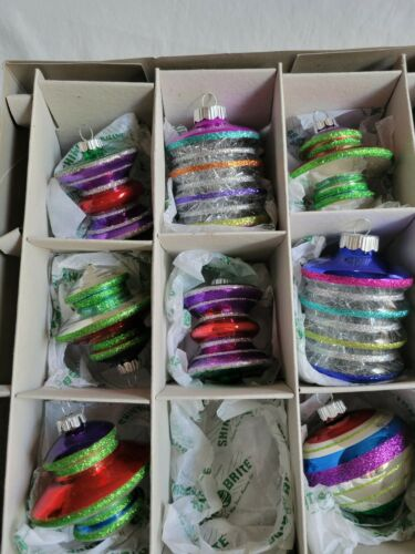 """Shiny Brite 2.5""""  Lanterns & other shapes, Christopher Radko 2011 box of 8 of 9"""