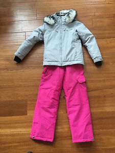 Girls Firefly Ski jacket, pants and North face mitts.