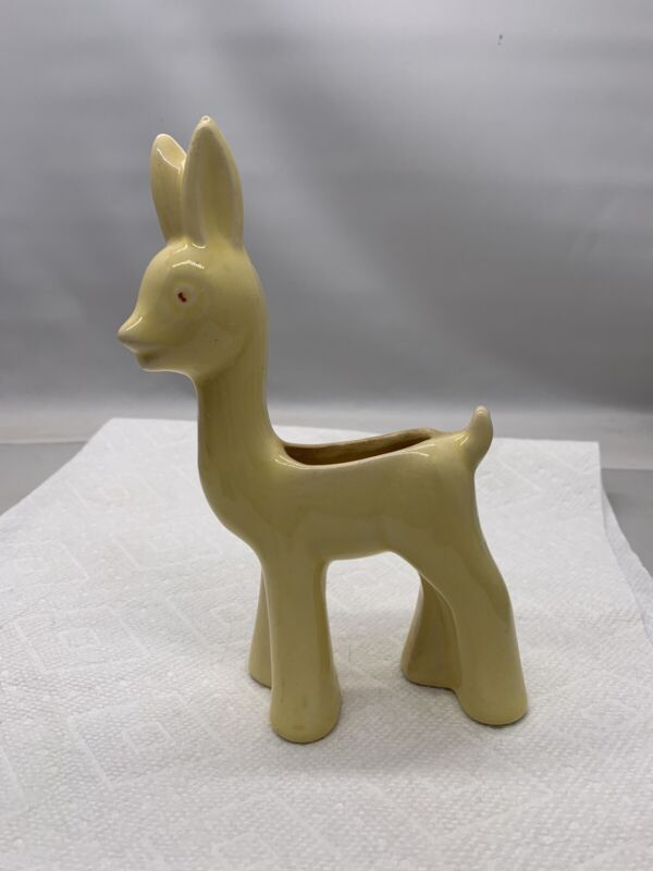 Vintage Shawnee Glazed Ceramic Pottery Deer Planter Yellow