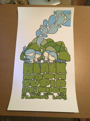 Black Moth Super Rainbow Flaming Lips Tour Poster Mike Budai 15x26 Very Good OOP