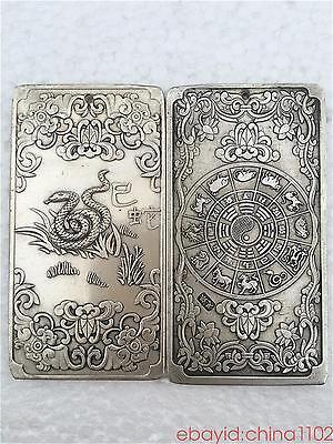 1 PCS tibetan Old silver tibet Nepal statue Chinese zodiac snake amulet thangka