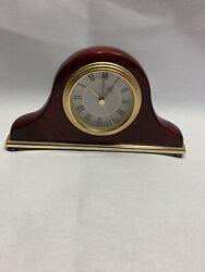 LINDEN Solid MAHOGANY Wood/Brass Quartz Mini Mantle Battery Alarm Clock I3