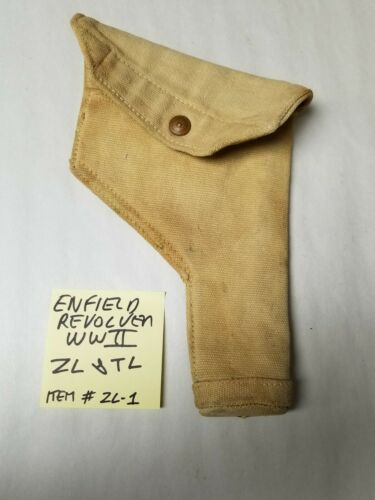 """ENFIELD REVOLVER CANVAS HOLSTER BRITISH WWII MARKED """"ZL&TL""""."""