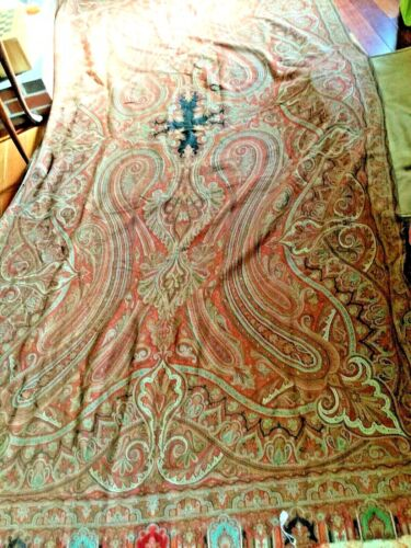 "Antique black Center Wool Paisley piano shawl~L-144""X W-62"""