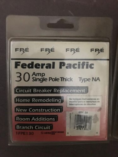 New Federal Pacific Circuit Breaker 30 Amp; Single pole; Thin&Thick
