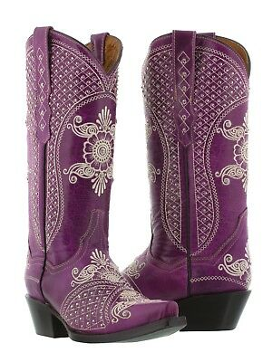 Womens Purple Wedding Leather Western Cowgirl Boots Studded Embroidered Snip Toe - Wedding Cowgirl Boots