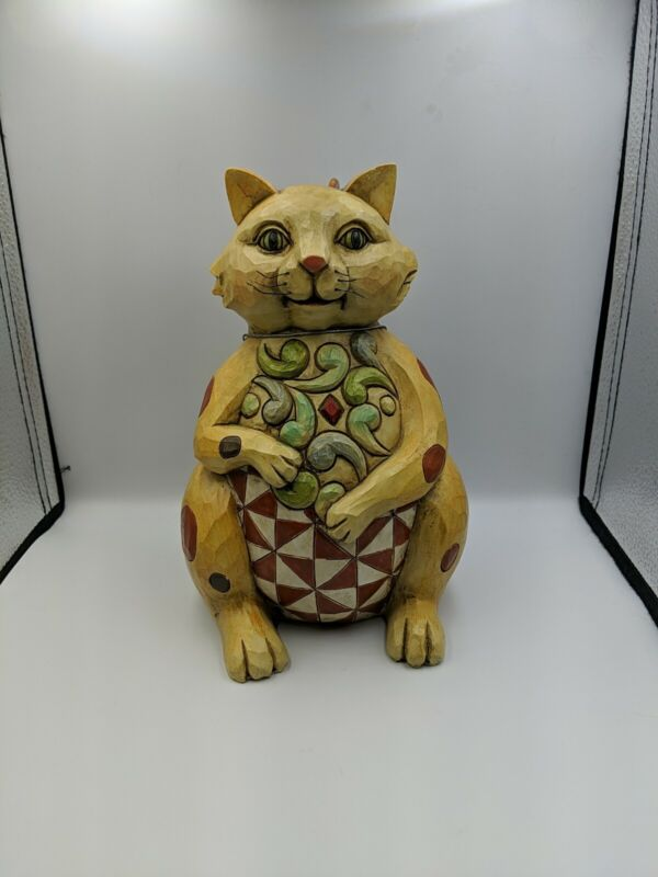 """Jim Shore """"Felicity"""" Outdoor Living 2011 10""""x 7"""" SPOTTED CAT  metal tail"""