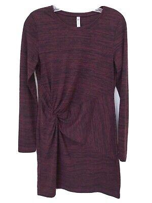 Fabletics Dress Twist Knot Space Dye Long Sleeve Pullover Merlot Black S