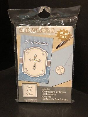 - Silver Cross Blue Religious Christian Party Invitations 20  - A Celebration NEW