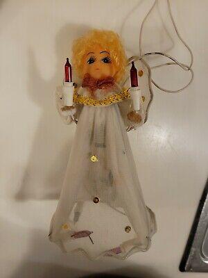 Vintage Doll Head Christmas ANGEL Blinking Light Up TREE TOPPER
