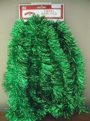 New 15 Ft Holiday Time GREEN Christmas Tree Tinsel Garland St Patrick's Day Wide - Christmas Garlands