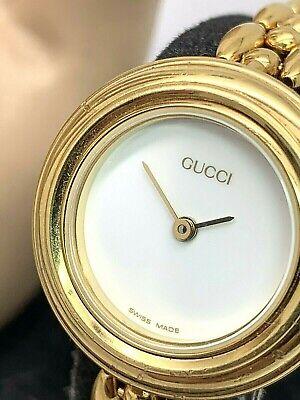 Gucci Womens Watch Vintage 11/12.2 Swiss Quartz White Dial Interchangeable Bezel