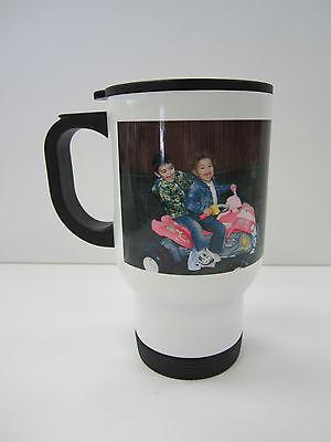 PERSONALIZED PHOTO TRAVEL MUG 14 OZ. WHITE STAINLESS - Personalized Photo Travel Mugs