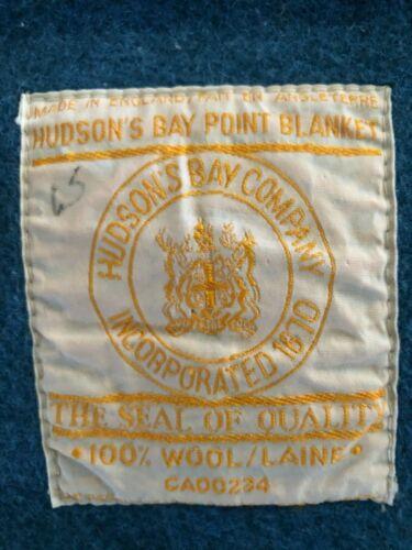 HUGE VINTAGE ANTIQUE BLUE HUDSON BAY 4 POINT WOOL BLANKET Made in England