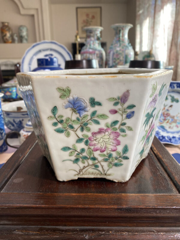 Antique Chinese Famille Rose Hexagon jardiniere Porcelain Planter Pot