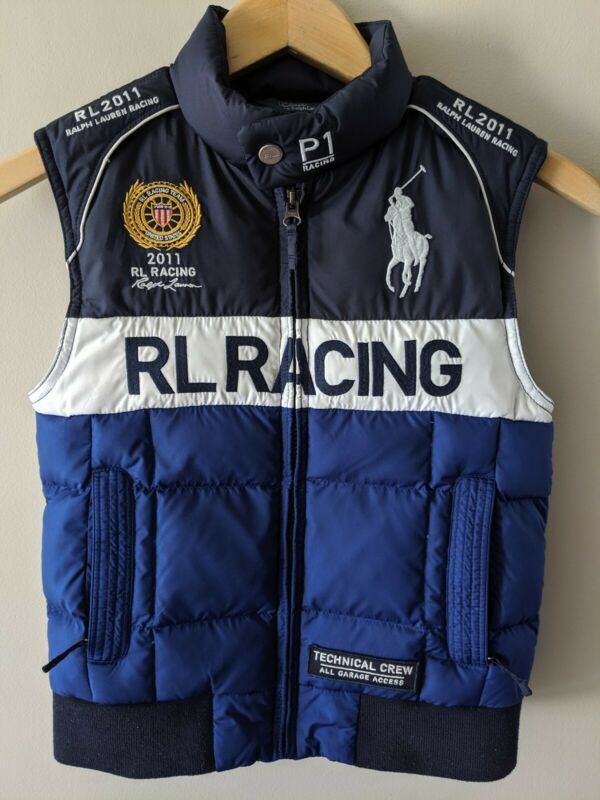 RARE POLO Ralph Lauren 2011 Racing Team Puffer Ski GOOSE DOWN Vest Youth Size 6