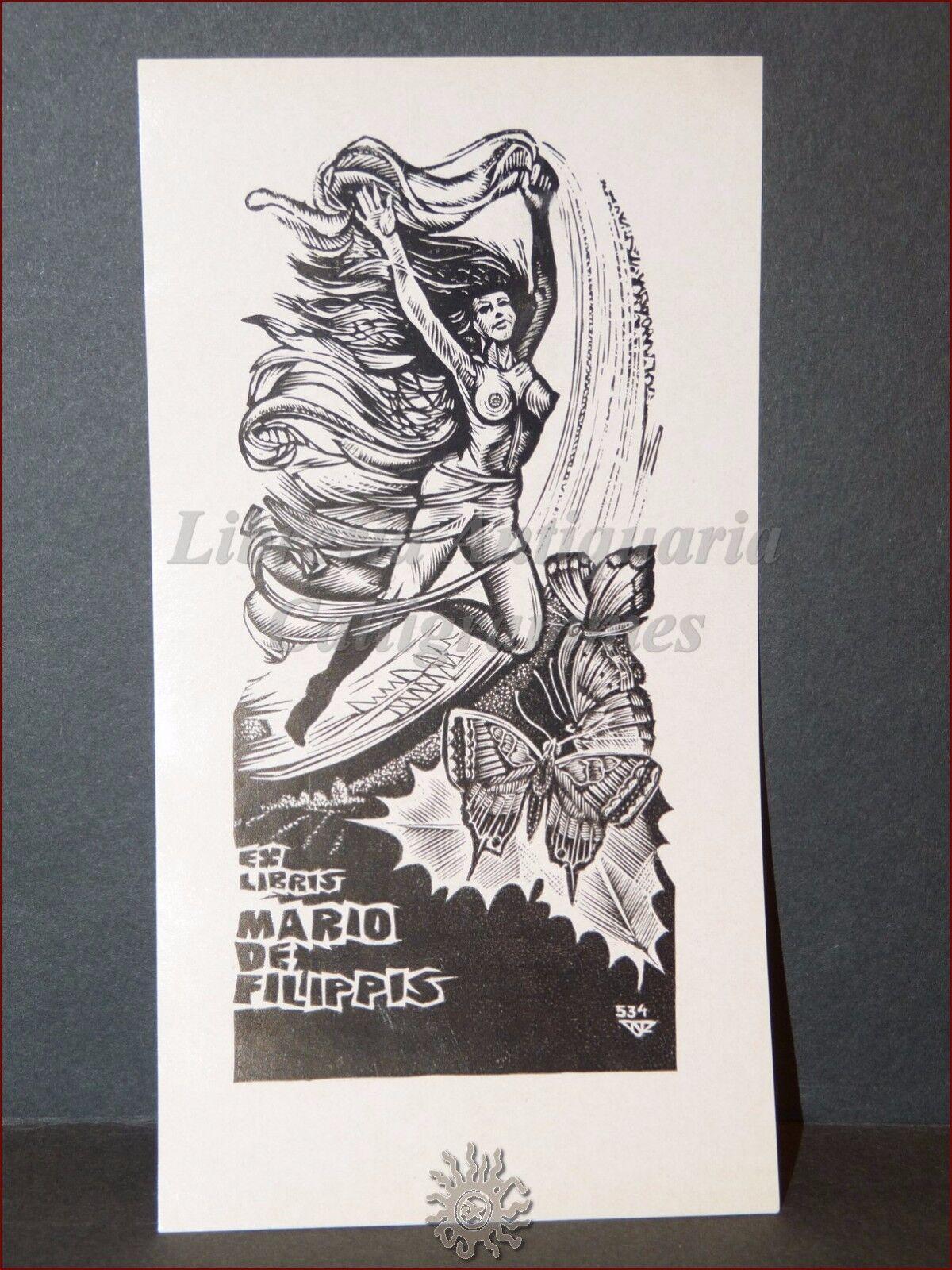EROTICA - Ex-Libris Originale NAGY LASZLO LAZAR Donna Farfalle Mario De Filippis