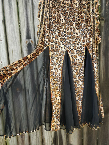 Leopard Print Bellydance Skirt with Armbands/Veil