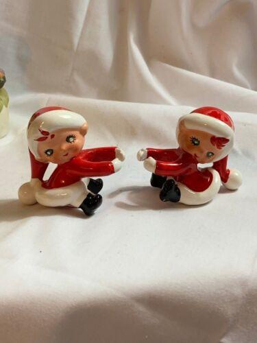 Vintage Lefton Japan Christmas Santa Elves Candle Huggers Climbers