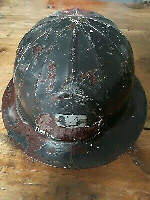 Vintage Paramont C-80 Hard Hat -iron Steel Workerminer Distressed Patina Cool
