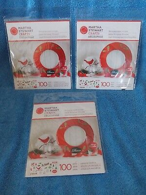 Lot Of 3 New Martha Steward Crafts Christmas Decoupage Paper Cut Outs