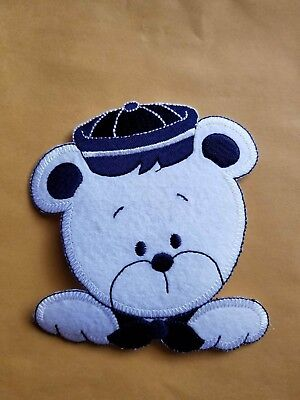 (Navy Blue Teddy Bear Embroidery Iron On Patch Applique DIY Crafts)