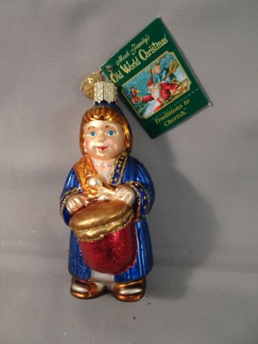 """NOS w Tag 2008 Old World Christmas OWC DRUMMER BOY 4"""" Hand Painted Glass"""