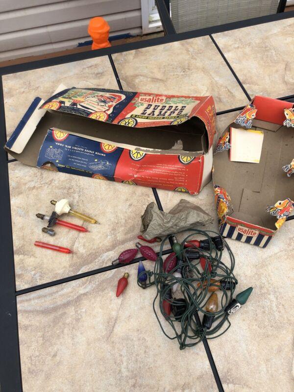 Vintage Display Box Usalite Bubble Lights Dusplay Box Parts Lot Untested