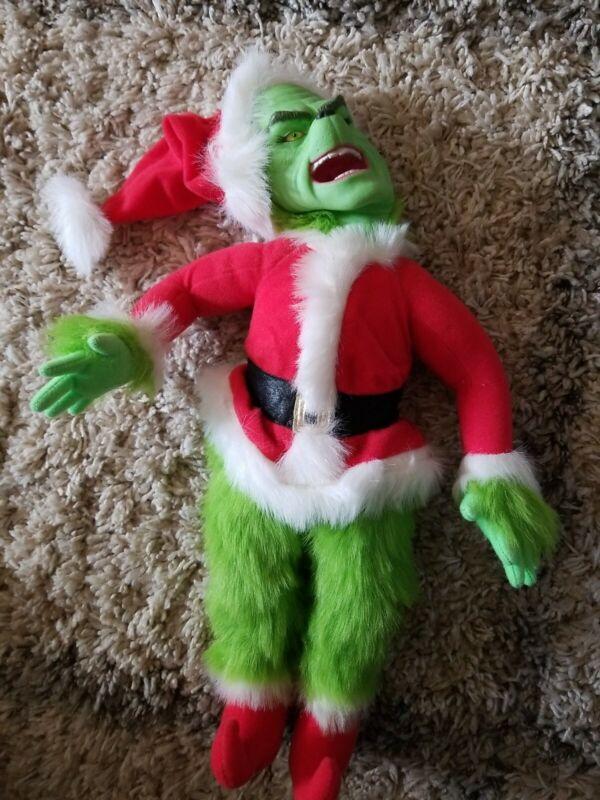 Dr. Seuss Grinch Stole Christmas talking doll toy 2000 Jim Carrey EUC