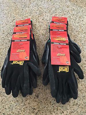 6 Pairs Black Diesel Pro-tekk Latex Grip General Purpose Work Gloves