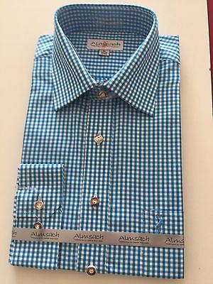Hemden Herren Freizeithemd Business Trachtenhemd Almsach Blau Weiß Karo Langarm