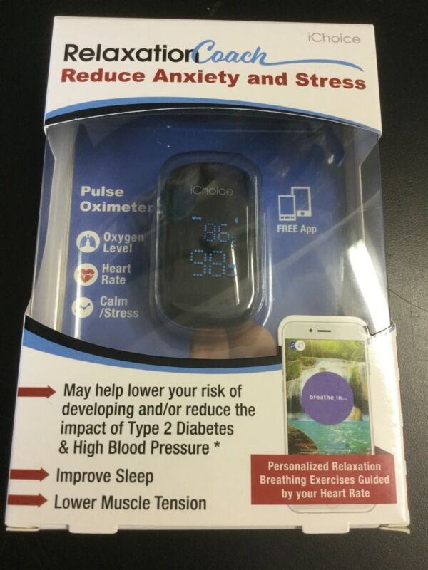 iChoice Smart Pulse Oximeter Relaxation Coach Bluetooth Heart Rate & Oxygen 0921