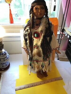 """Native American Porcelain Doll 16"""" Beads, Fur, Earring, Necklace, Very Decora"""