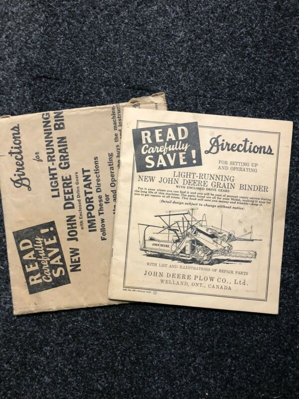 Vintage John Deere JD Directions for Grain Binder 1926 w.original envelope
