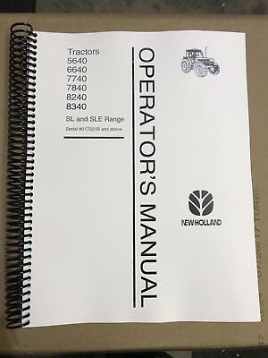 7740 New Holland Operator And Maintenance Manual With Sl And Sle Range Tran Ford