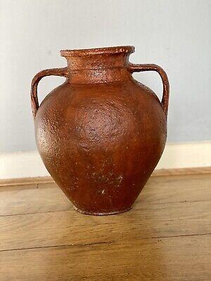 Vintage Bulgarian Earthenware Amphora Terracotta Olive Pot,Urn With Handles