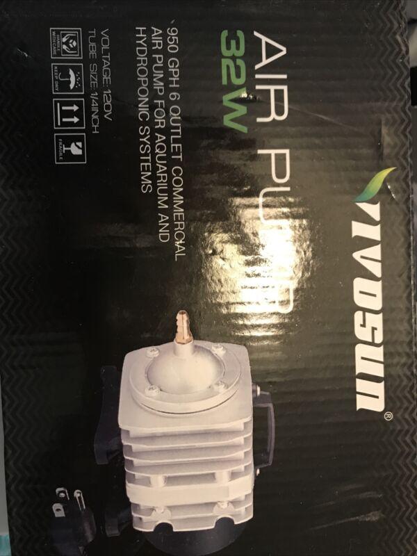 VIVOSUN Air Pump 950 GPH 32W 60L/min 6 Outlet Commercial Air Pump for...