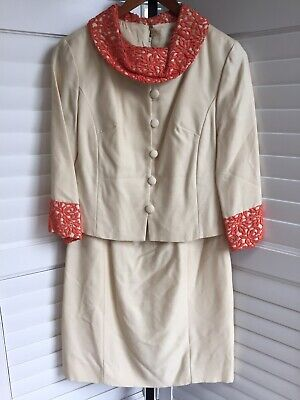 Vtg 1960's MISS THEME Jackie O Style Dress Blazer Jacket Suit Cream Orange Lace