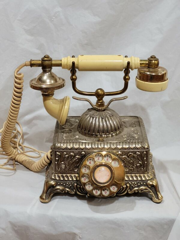 Vintage Victorian Rotary Dial Phone Ornate French Gold Brass Metal Korea