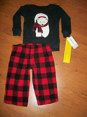 "New with tags, boys Carters 2 piece pajama set, ""lumberjack bear"" size 12 months"