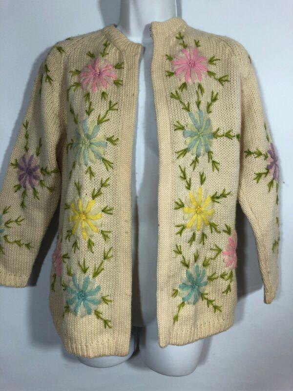 Vintage Cardigan Sweater Crewel Floral 1960 1950 MEDIUM  WOOL