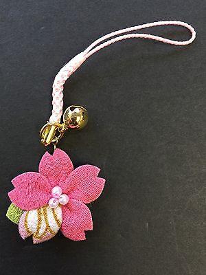 Japanese Crape Chirimen Sakura Cherry Blossom NETSUKE Strap Red MADE IN JAPAN